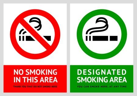 No smoking and Smoking area labels - Set 6 Stock Vector - 17696709