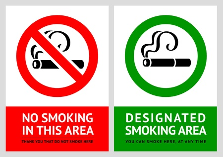 No smoking and Smoking area labels - Set 7 Vector