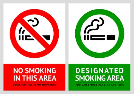 health hazard: No smoking and Smoking area labels - Set 9