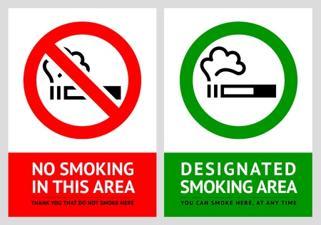hazard damage: No smoking and Smoking area labels - Set 10 Illustration