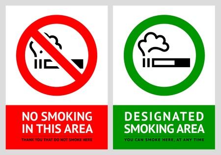 risk sickness: No smoking and Smoking area labels - Set 10 Illustration