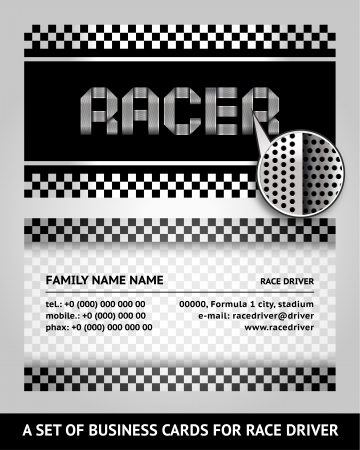 chequered ribbon: Business card driver race