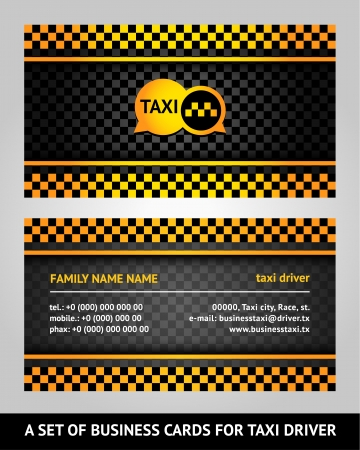 chequered ribbon: Visiting cards - taxi Illustration
