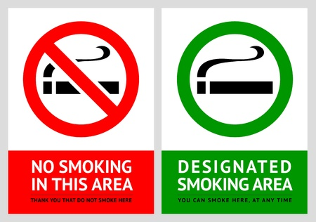 public works: No smoking and Smoking area labels - Set 1