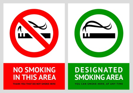 work area: No smoking and Smoking area labels - Set 2
