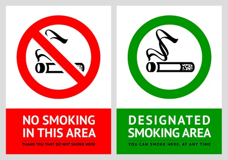 No smoking and Smoking area labels - Set 3 Иллюстрация