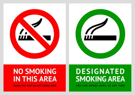 hazard damage: No smoking and Smoking area labels - Set 4
