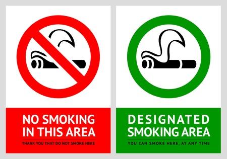 prohibido fumar: No fumar y etiquetas de zona de fumadores - Set 5 Vectores