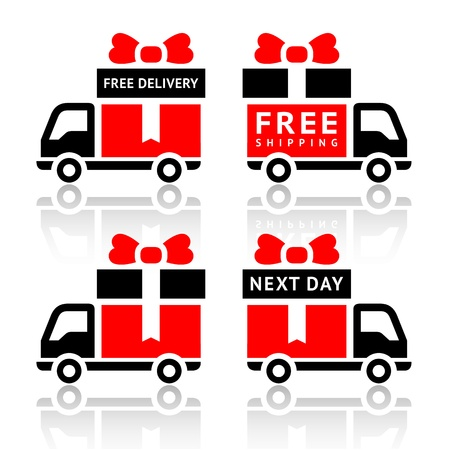 free shiping: Set of truck red icons - free delivery Illustration