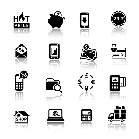 Shopping Icons black with reflection Vector