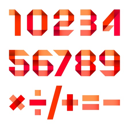 arabic numerals: Spectral letters folded of paper red ribbon - Arabic numerals