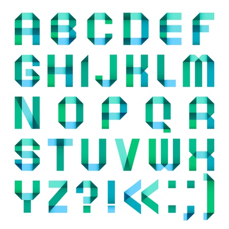 Spectral letters folded of paper ribbon-turquoise Vector