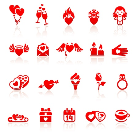 Set valentine s day red icon Vector