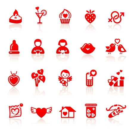 Set valentine s day red icons with hearts Stock Vector - 17696652