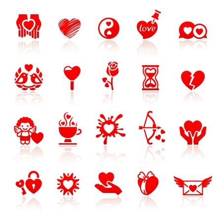 Set valentine s day red icons, love romantic symbols Stock Vector - 17696653
