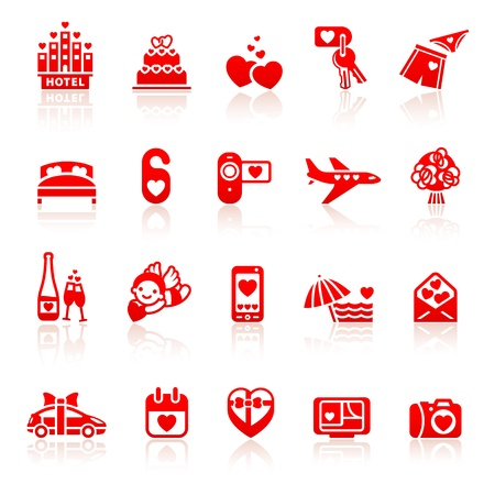 marriage bed: Set valentine s day red icons, romantic travel symbols