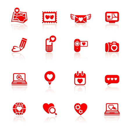 love declarations: Set valentine s day red icons Illustration