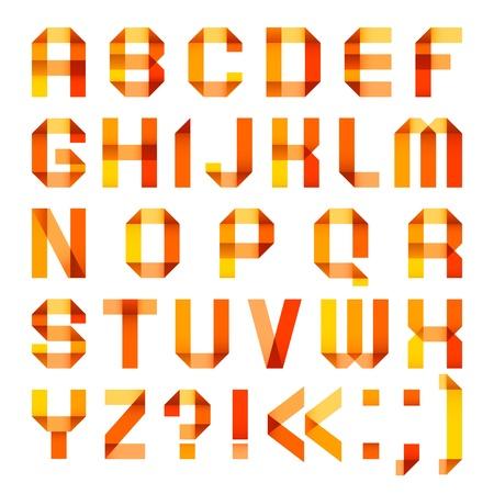 spectral: Spectral letters folded of paper ribbon-orange