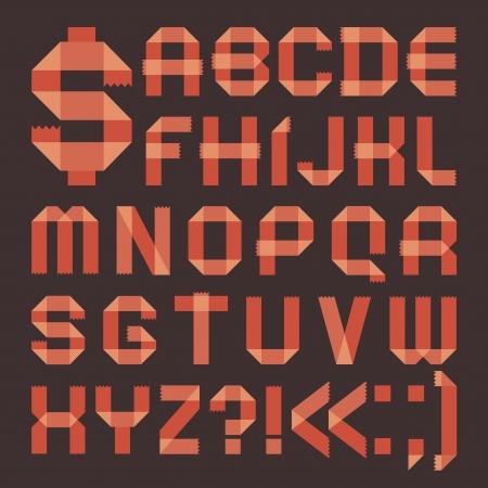 Font from reddish Roman alphabet Vector
