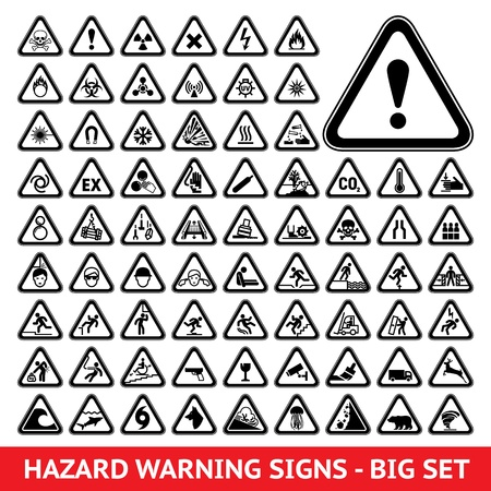 electricity danger of death: Triangular Warning Hazard Symbols  Big set