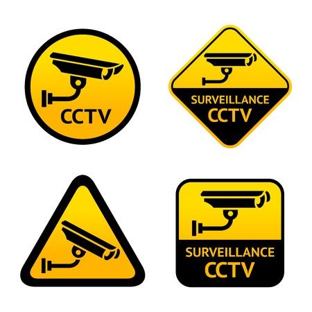 caution cctv: Video surveillance, set stickers Illustration