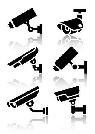 security icon: Video surveillance, new big set stickers