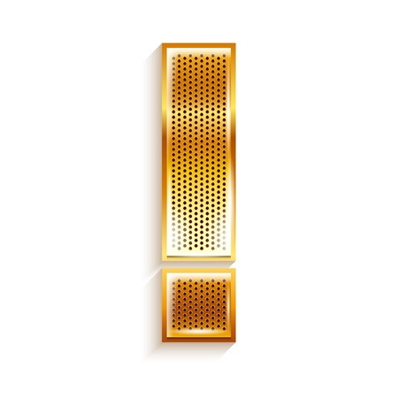 copper magnet: Letter metal gold ribbon Exclamation mark