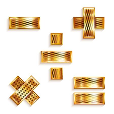 signos matematicos: Carta de metal de oro matem�ticos signos cinta