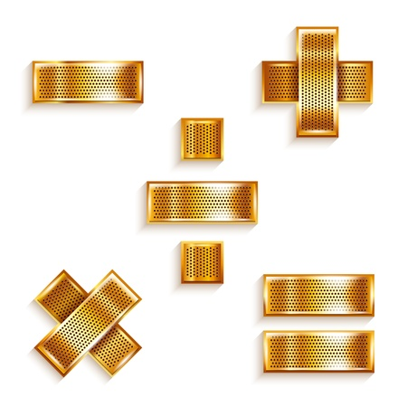 chromium: Letter metal gold ribbon Mathematical signs Illustration