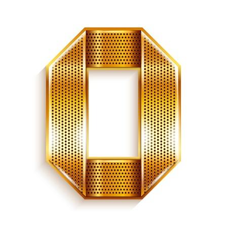 copper magnet: Number metal gold ribbon - 0 - zero Illustration
