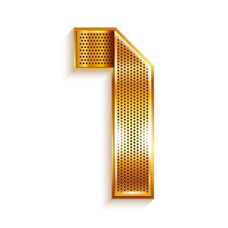 copper magnet: Number metal gold ribbon - 1 - one Illustration