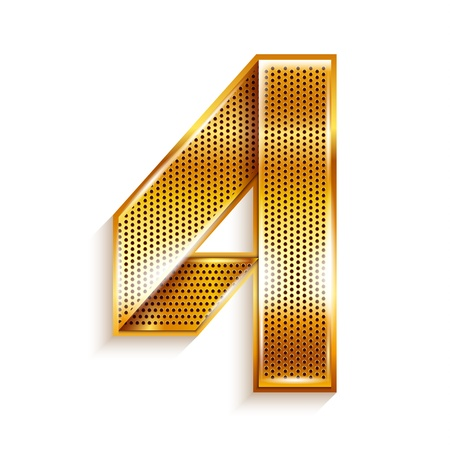 copper magnet: Number metal gold ribbon - 4 - four
