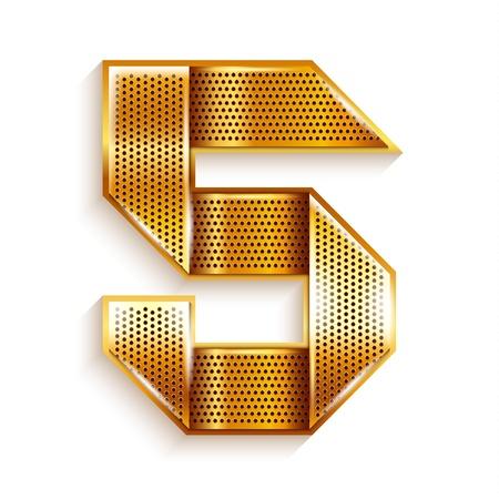 copper magnet: Number metal gold ribbon - 5 - five