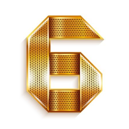 number 6: Number metal gold ribbon - 6 - six