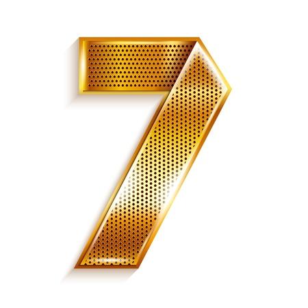 copper magnet: Number metal gold ribbon - 7 - seven