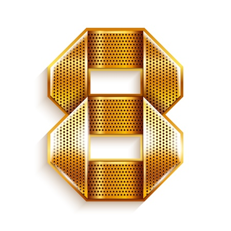 numeric: Number metal gold ribbon - 8 - eight Illustration