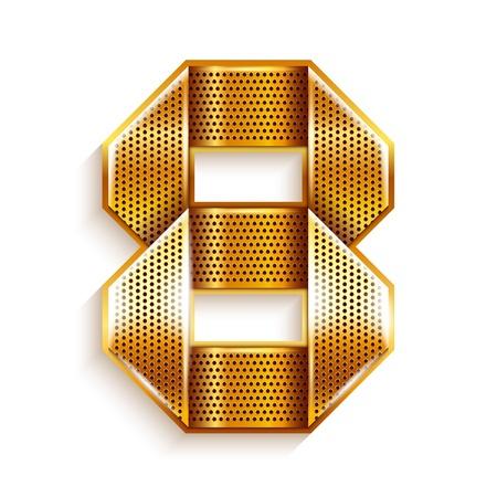 copper magnet: Number metal gold ribbon - 8 - eight Illustration