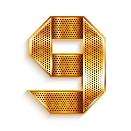 numeric: Number metal gold ribbon - 9 - nine