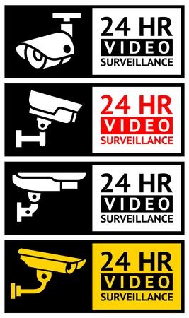Videobewaking stickers set Stock Illustratie