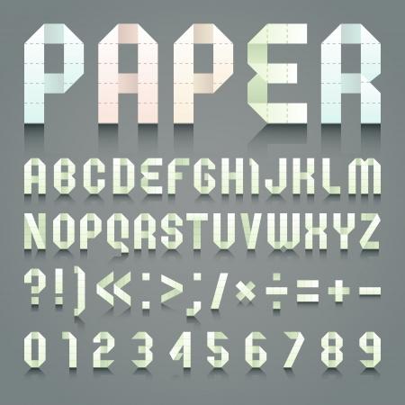 toilet paper art: Alphabet folded of toilet green paper Illustration