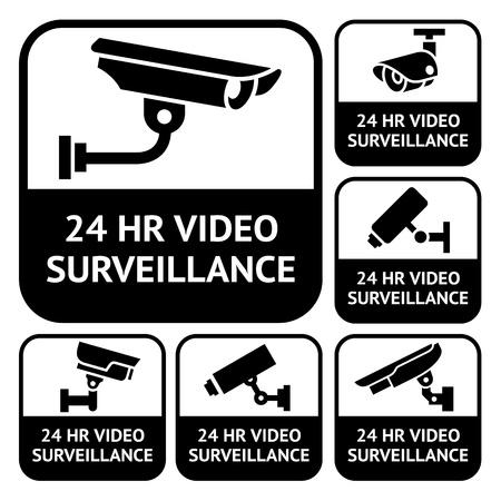 cam�ra surveillance: �tiquettes de vid�osurveillance Set de vid�osurveillance symboles
