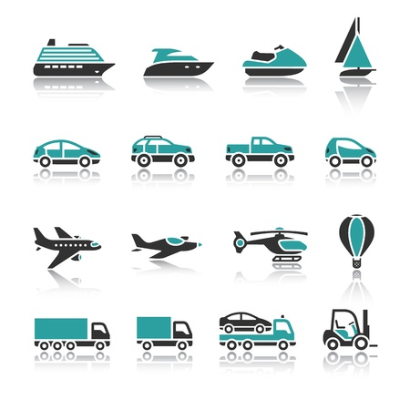 air liner: Set of transport icons - One Illustration