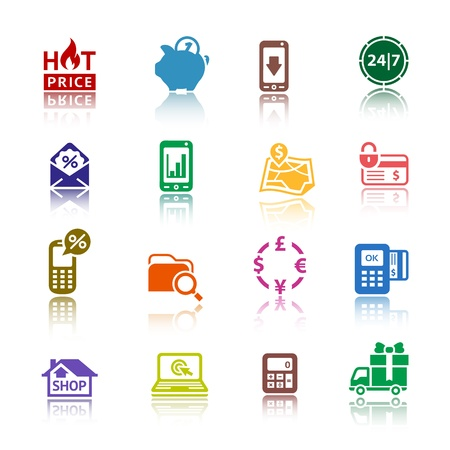 cashpoint: Set pictograms Shopping Icons  Color with reflection Illustration