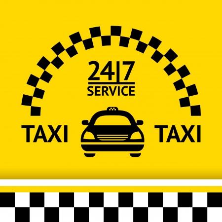 Taxi symbool, en auto op de achtergrond