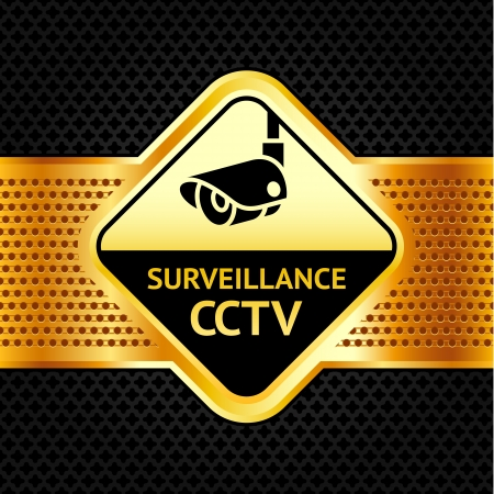 cctv security: Cctv symbol on a metallic perforated background