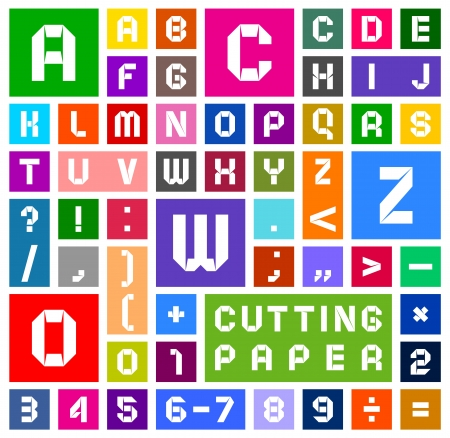 Alfabet van papier, uitknippen, wit op veelkleurige achtergrond