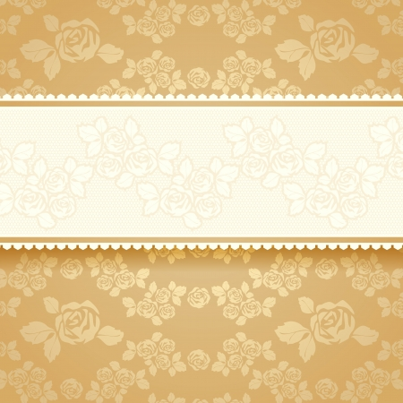 Golden roses with background  Square Stock Vector - 17852399