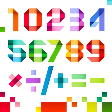 Spectral letters folded of paper ribbon colour - Arabic numerals Vector