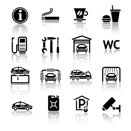 station service: Ic�nes de station de gaz mis en Illustration