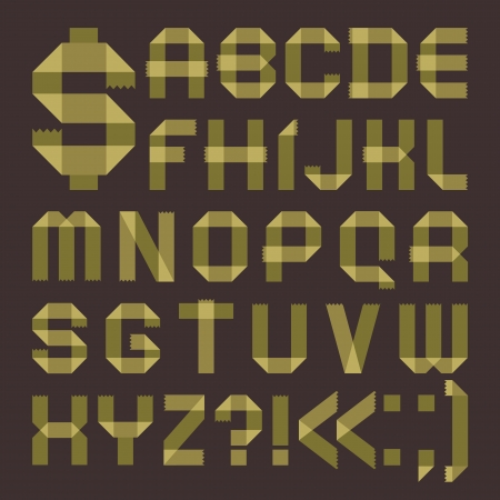 Font from greenish tape -  Roman alphabet Vector